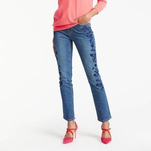 BODEN Embroidered Cavendish Girlfriend Ankle Jeans